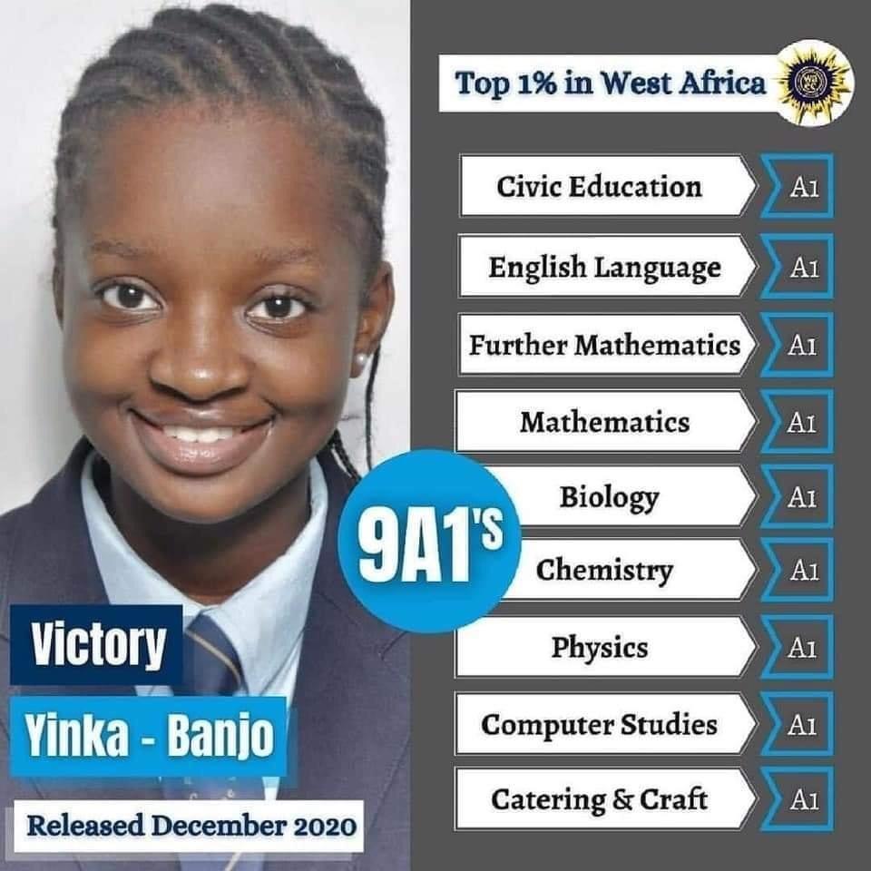 Victory Yinka Banjo WAEC result and Scholarships