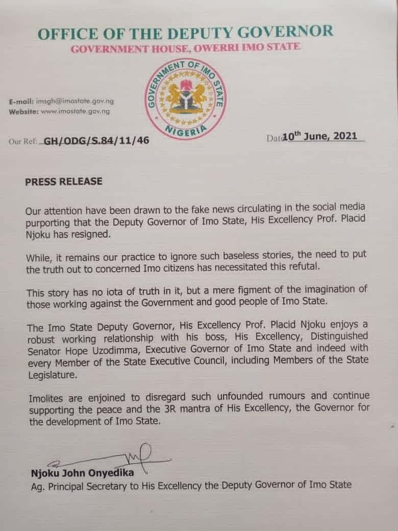 Imo Deputy Governor Placid Njoku resignation